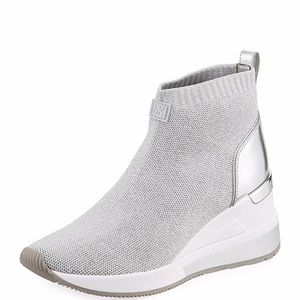 Michael Kors Skyler Stretch-Knit Metallic Sneaker